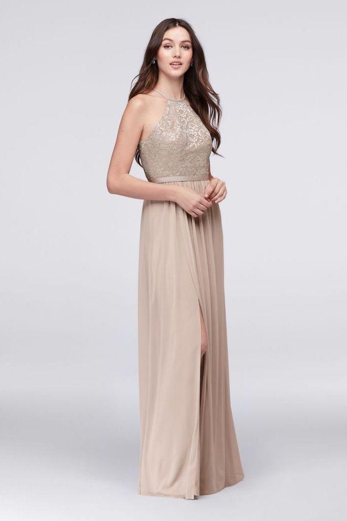 long brown wavy hair, sequin top, chiffon skirt, bridesmaid gown