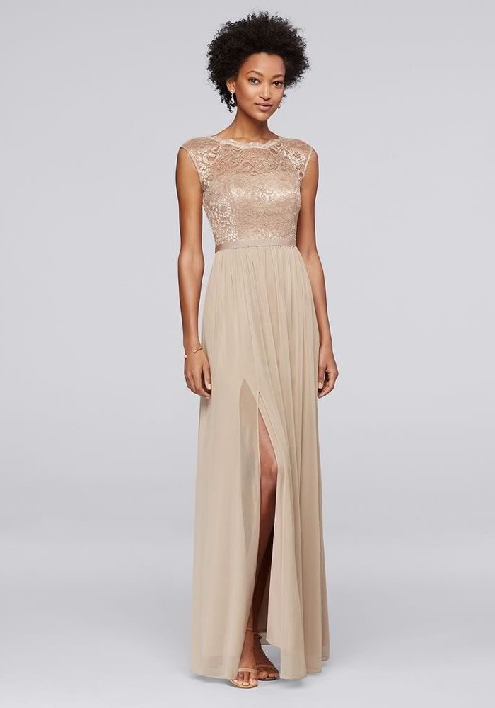 short curly black hair, gold sequin bridesmaid dresses, lace top, chiffon skirt, with slit, nude sandals