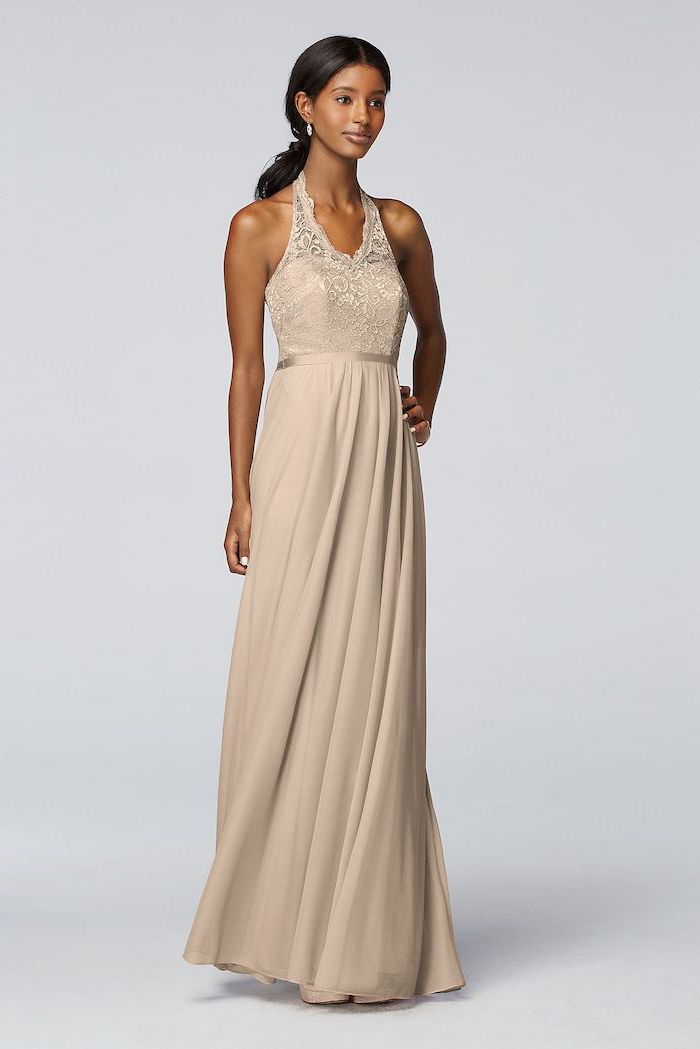 black hair, in a ponytail, bridesmaid gown, lace top, chiffon skirt