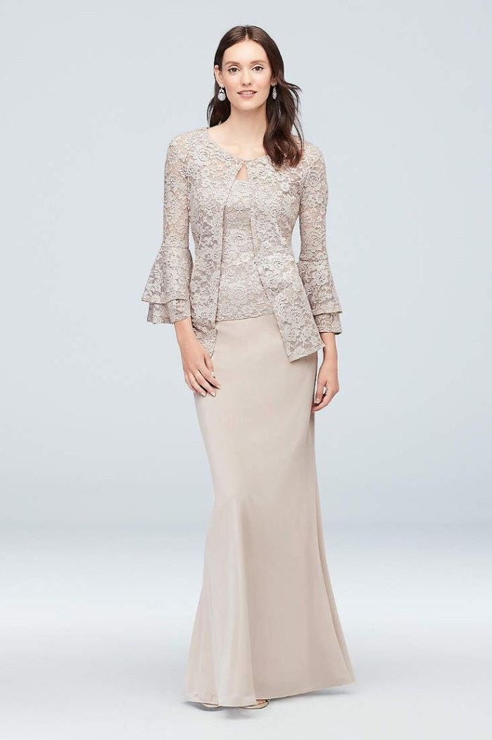 mother of the bride dresses for beach wedding, lace top, long sleeves, chiffon skirt, brown wavy hair