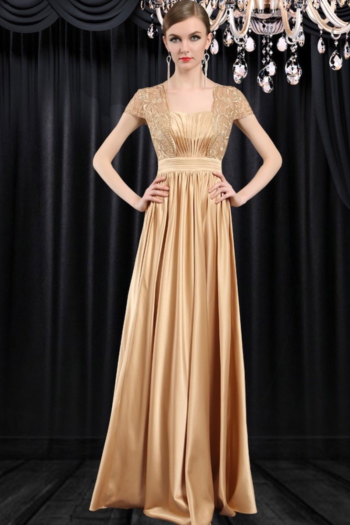 lace top, satin skirt, chiffon bridesmaid dresses, brown hair, in a low updo, black curtains