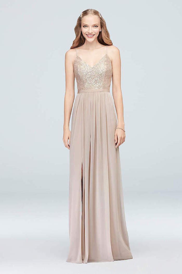 long brown wavy hair, lace top, chiffon skirt, chiffon bridesmaid dresses, spaghetti straps