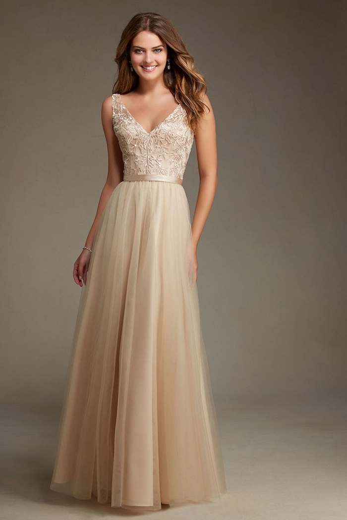 lace top, chiffon skirt, v neckline, lace bridesmaid dresses, long brown wavy hair