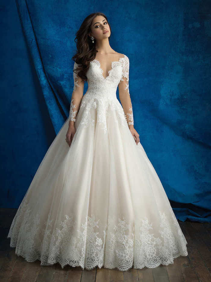 blue background, v neckline, lace wedding gowns, with chiffon and tulle, long black wavy hair