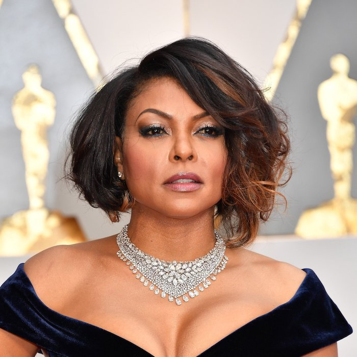 blue velvet dress, taraji p henson, large diamond necklace, bob hairstyles for black women