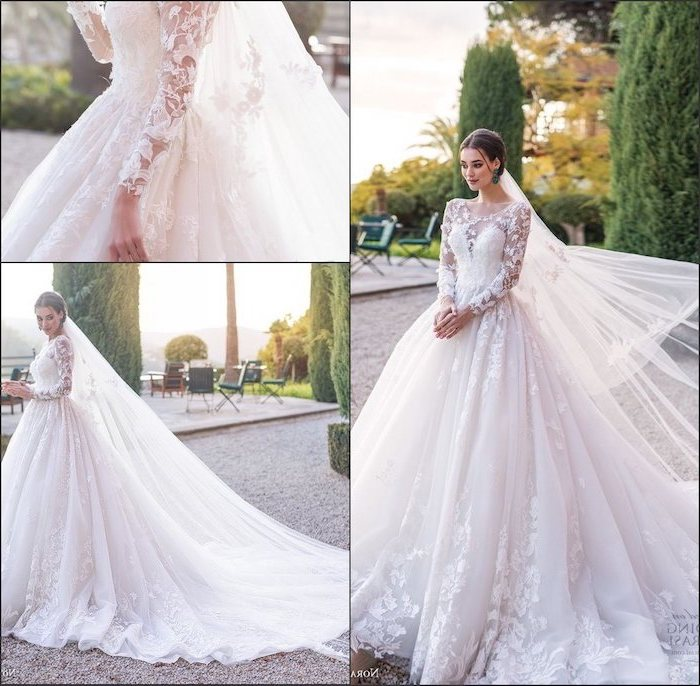 photo collage, side by side photos, lace wedding dress with cap sleeves, long tulle train, lace and chiffon