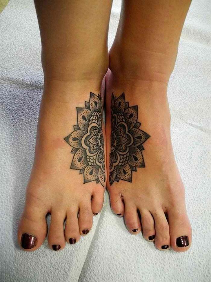 mandala flower, split in half, best friend tattoo ideas, leg tattoos, dark red nail polish, white background
