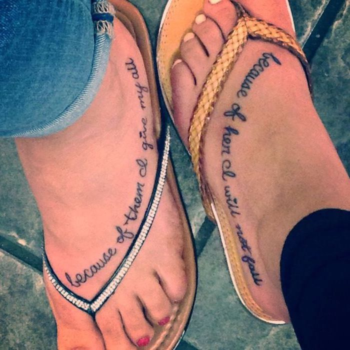 because of them i'll give my all, because of her i will not fall, mother daughter symbol, leg tattoos