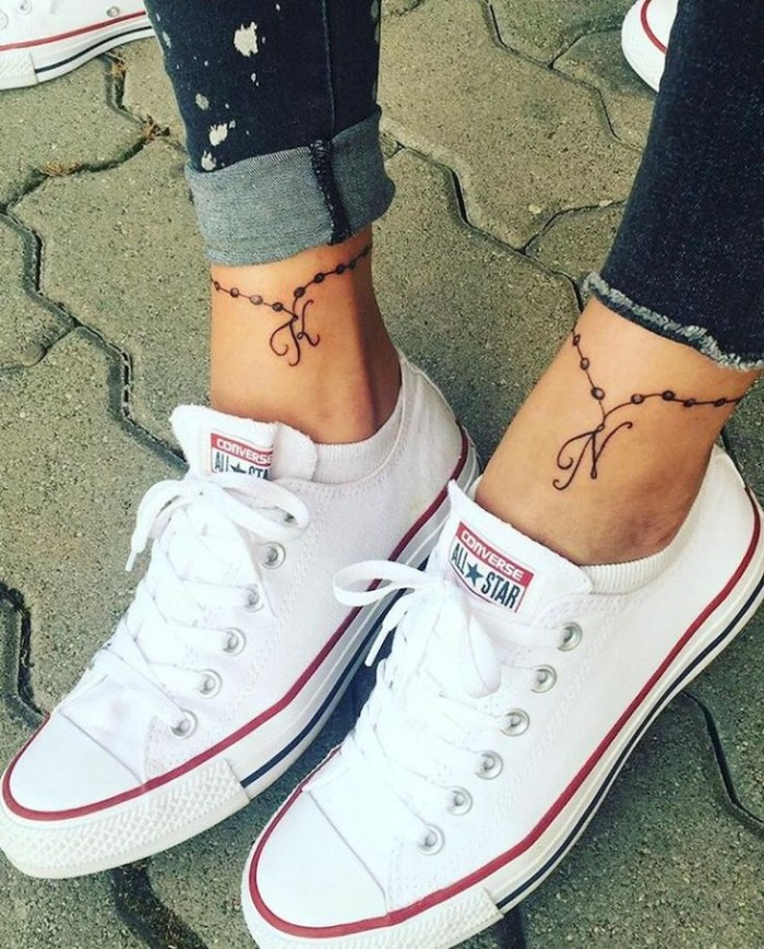 white converse sneakers, friendship tattoo ideas, letter initials, ankle bracelet tattoo, paved floor