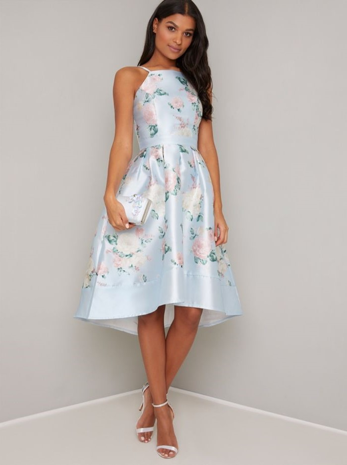 light blue satin, floral print, above the knee, short mother of the bride dresses, white sandals, black wavy hair
