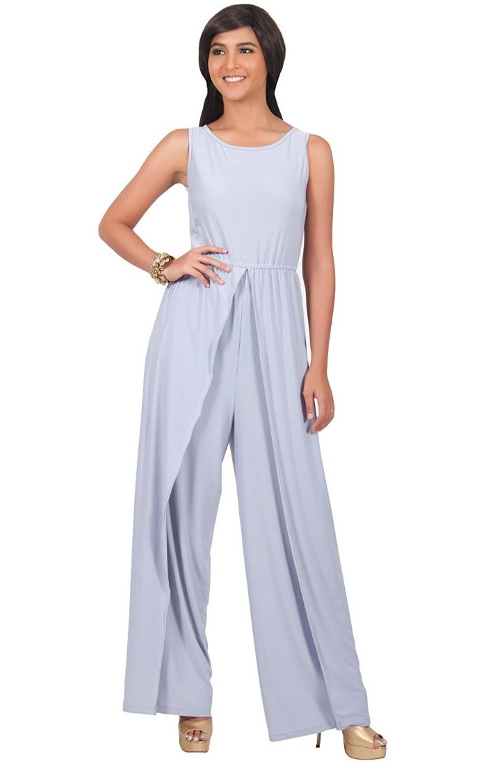 light blue jumpsuit, made of chiffon, gold open toe heels, mother of the bride dresses for beach wedding