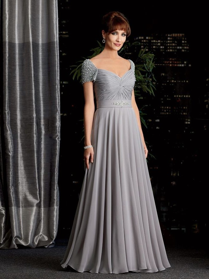 light blue chiffon, sequin shoulder sleeves, mother of the bride dresses for beach wedding, brown hair