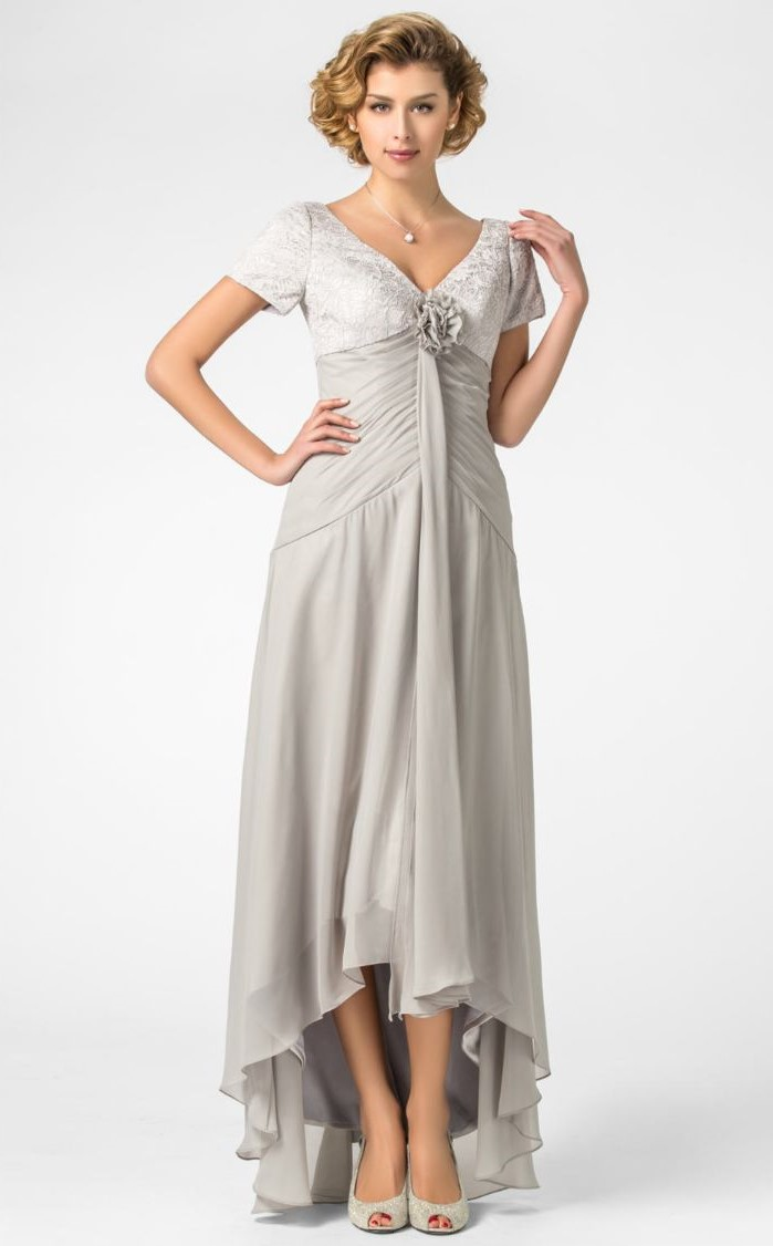 mother of the bride dresses with jackets, asymmetrical dress, made of chiffon, short sleeves, blonde short hair