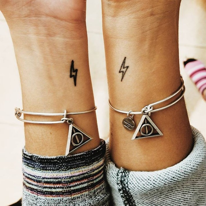small lightning, wrist tattoos, friendship tattoo ideas, deathly hallows bracelets, harry potter isnpired
