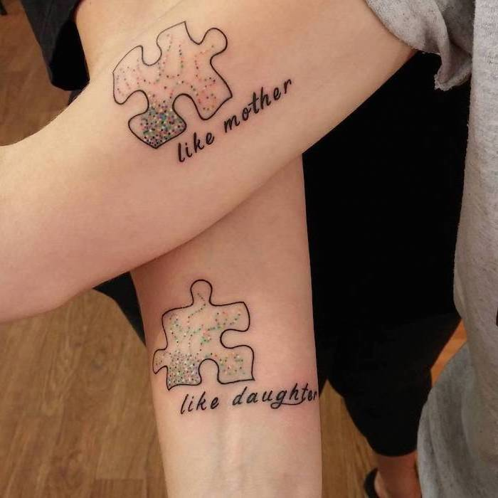like mother, like daughter, jigsaw puzzle pieces, daughter tattoos, forearm and inside arm tattoos