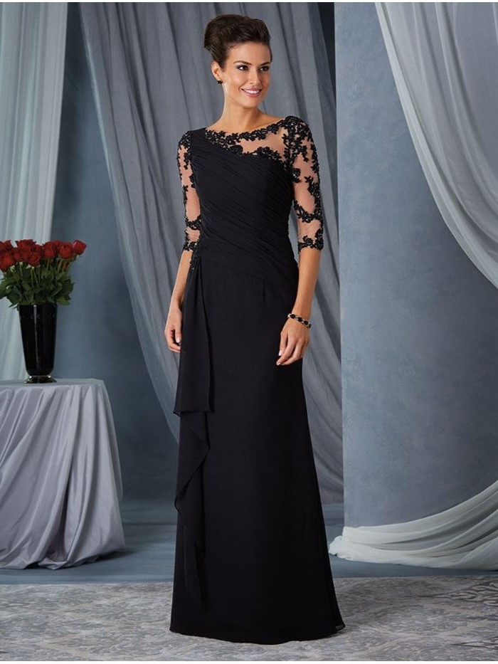 black chiffon, lace sleeves, quarter sleeves, mother of the bride dresses with jackets, black hair