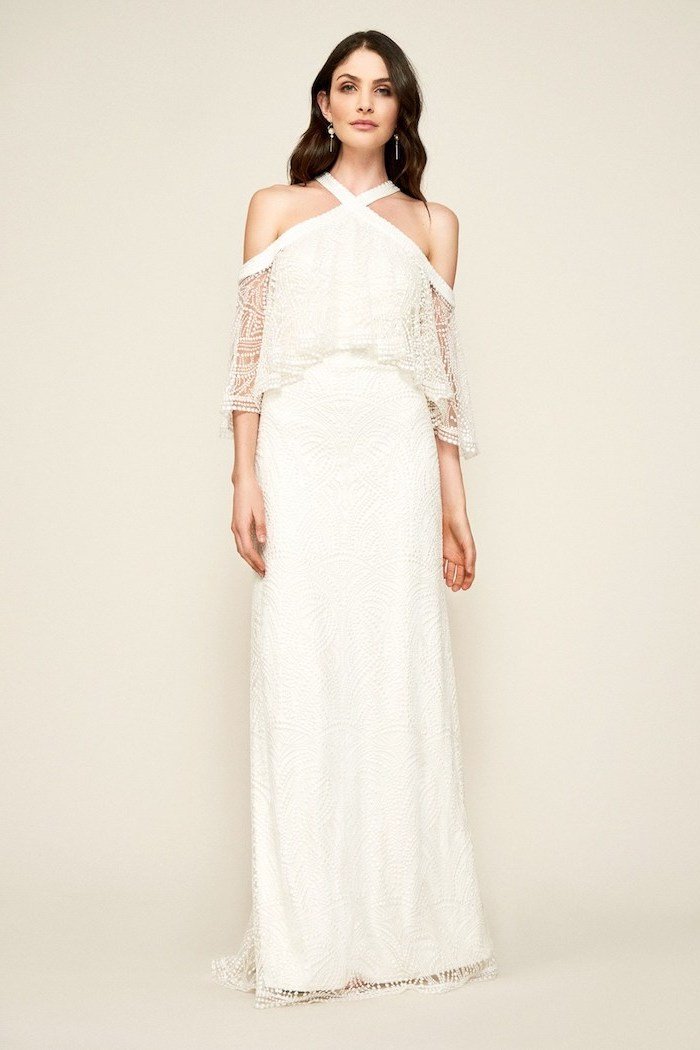 long black wavy hair, off the shoulder neckline, informal wedding dresses, made of lace and chiffon