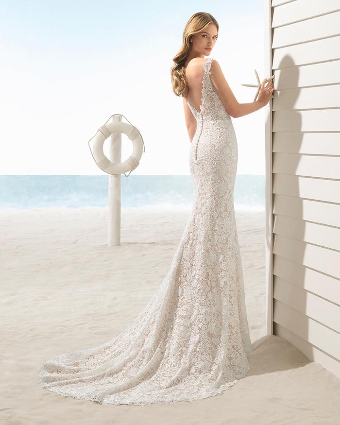 open back, lace dress, long train, mermaid dress, beac informal wedding dresses, long blonde wavy hair