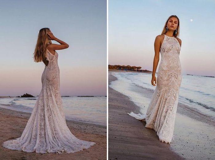 long mermaid lace dress, long blonde wavy hair, beach informal wedding dresses, jewel neckline