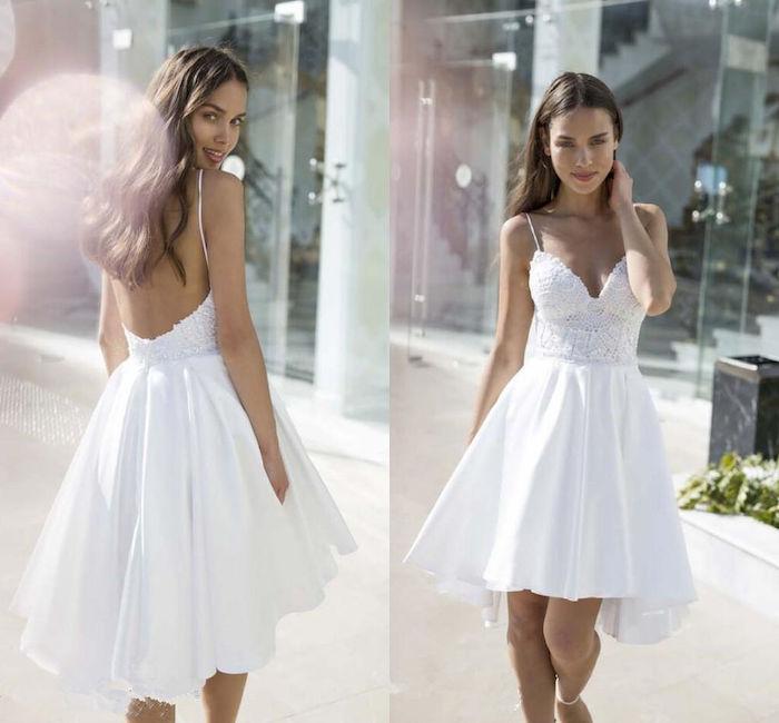 short dress, lace corset, satin skirt, beach informal wedding dresses, side by side photos, long brown hair