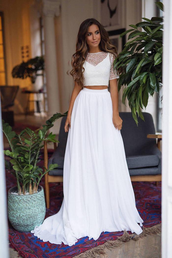 long brown wavy hair, two piece dress, lace top, chiffon skirt, informal wedding dresses, vintage rug