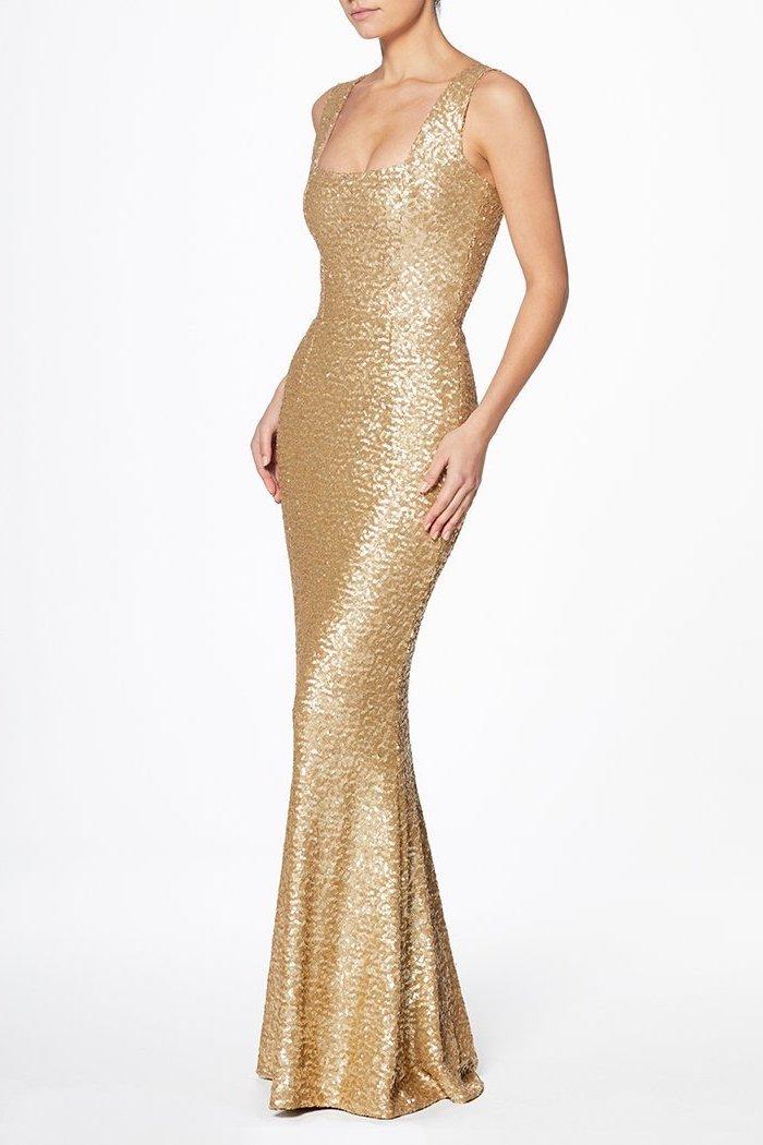 square neckline, gold sequin dress, chiffon bridesmaid dresses
