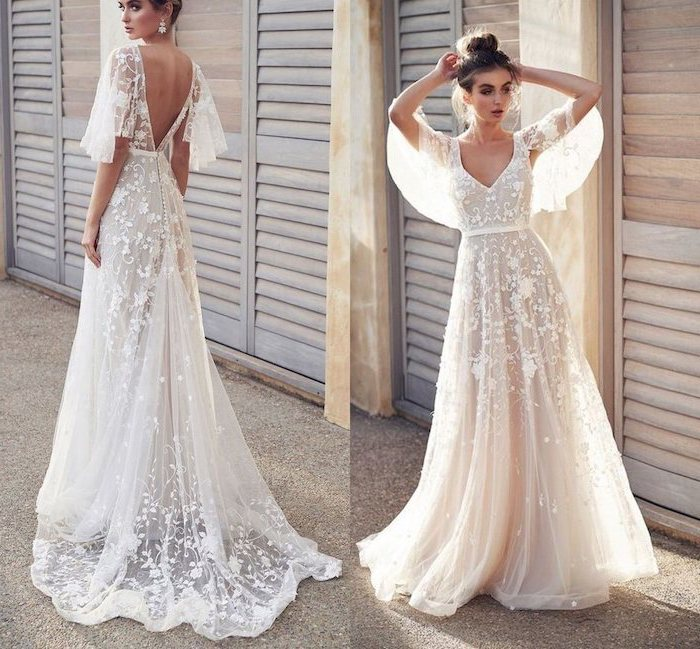 beach wedding gowns, long lace dress, open back, brown hair, in a messy bun