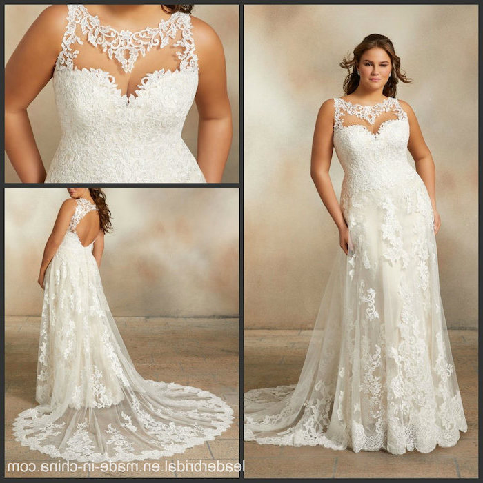 photo collage, beach wedding gowns, long lace train, lace corset, sweetheart neckline