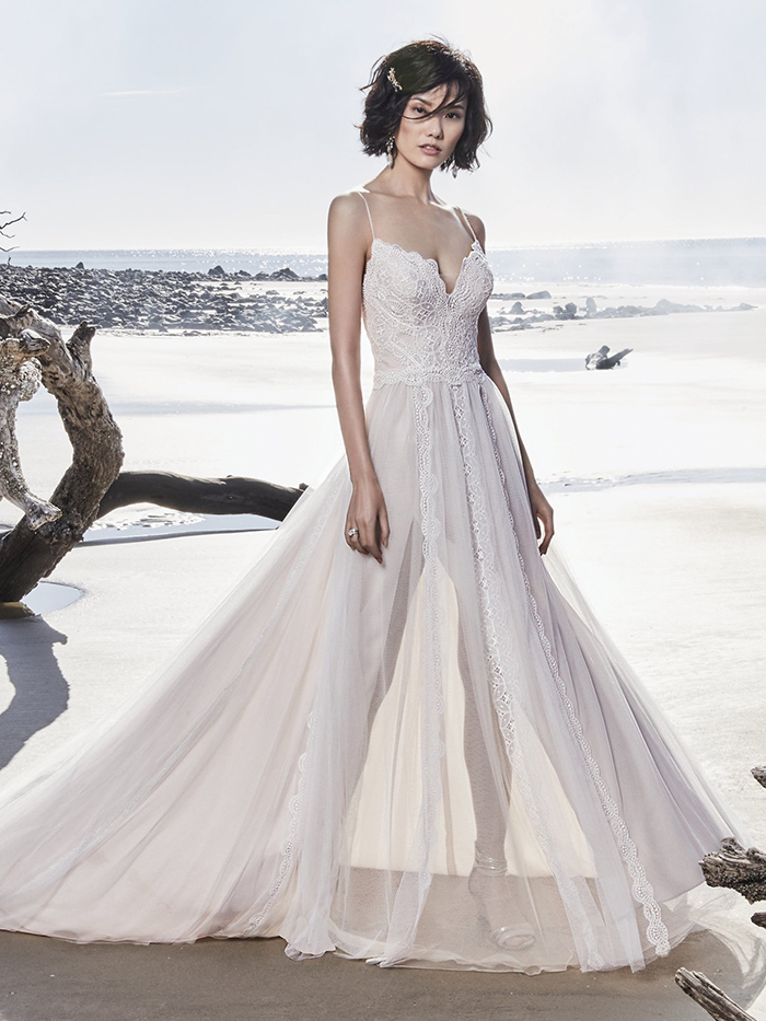 short black curly hair, long chiffon dress, see through, plus size beach wedding dresses, sweetheart neckline