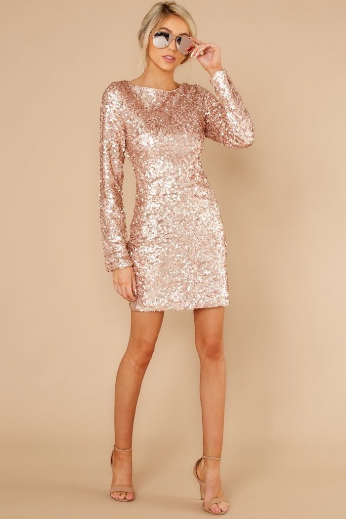 short dress, rose gold, long sleeves, lace bridesmaid dresses, nude sandals, blonde hair, in a low updo