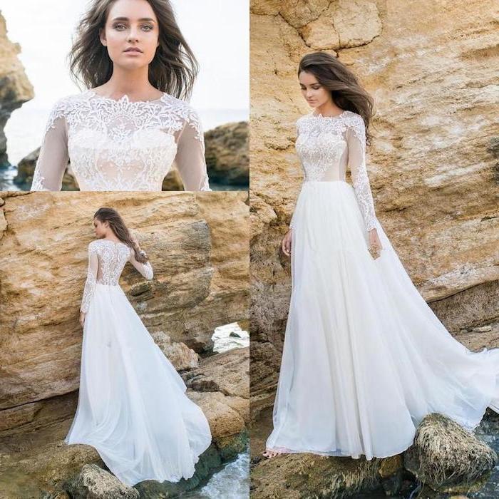 long sleeves, lace top, chiffon skirt, beach wedding gowns, long brown wavy hair