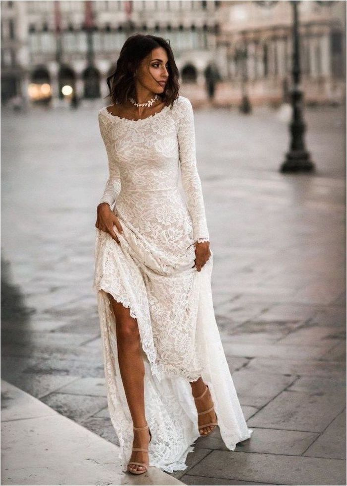 black wavy hair, lace dress, form fitting wedding dresses, nude sandals
