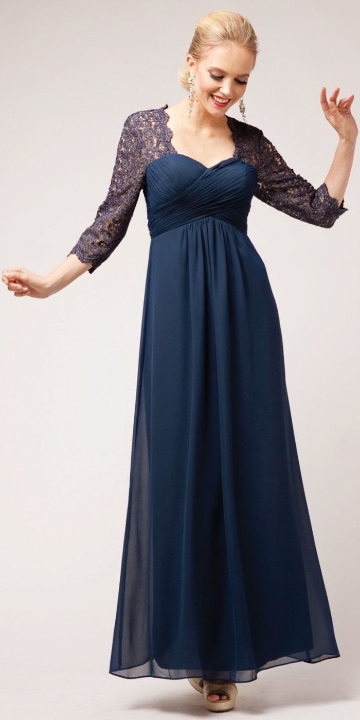 lace and blue chiffon, short mother of the bride dresses, blonde hair, in a low updo, quarter sleeves