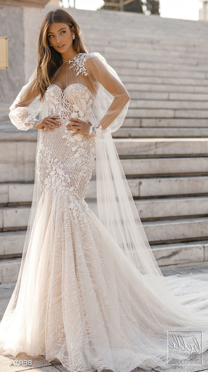 marble staircase, long brown hair, satin wedding dresses, lace dress, chiffon train