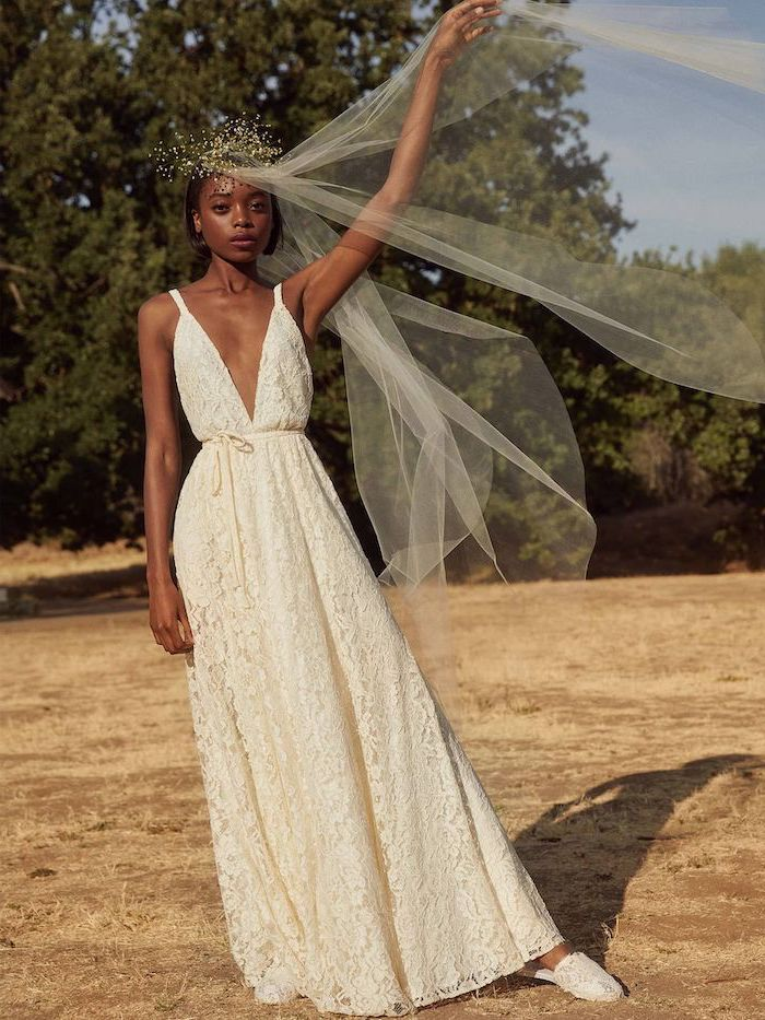 long tulle veil, short beach wedding dresses, made of lace, plunging v neckline, floral crown