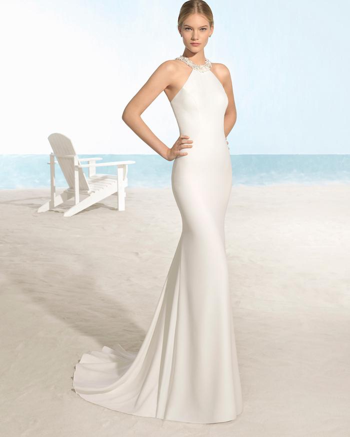 bohemian beach wedding dress, long satin dress, jewel neckline, blonde hair, in a low updo