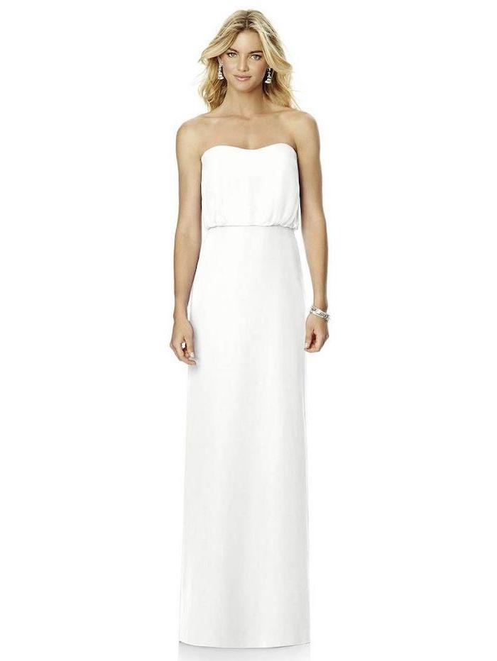 blonde wavy hair, bohemian beach wedding dress, long a line dress, white background