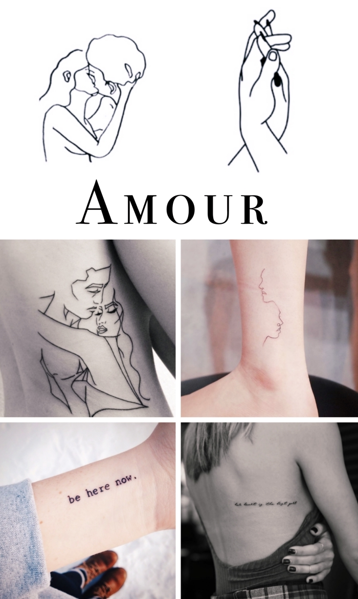 love tattoos, best places to get a tattoo, photo collage, male and female silhouettes