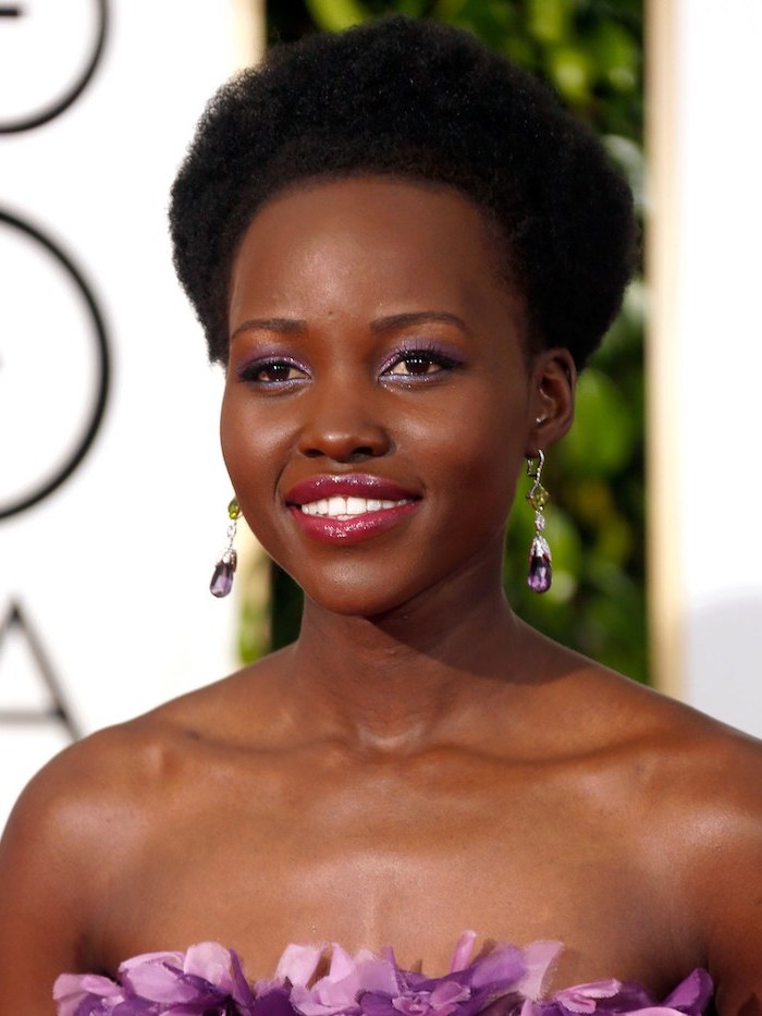 black hair, lupita nyong'o, natural hairstyles for short hair, purple dress, purple earrings