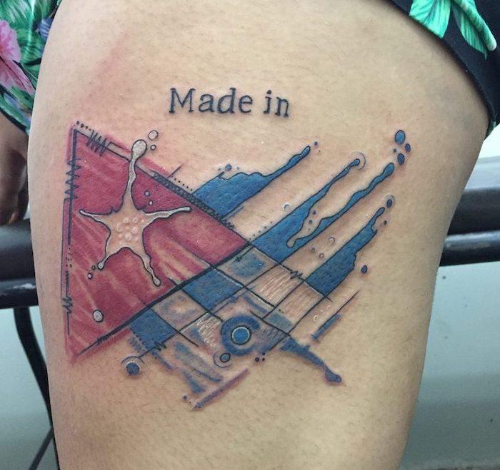 made in cuba, cuban flag, thigh tattoo, flower wrist tattoos, floral shorts