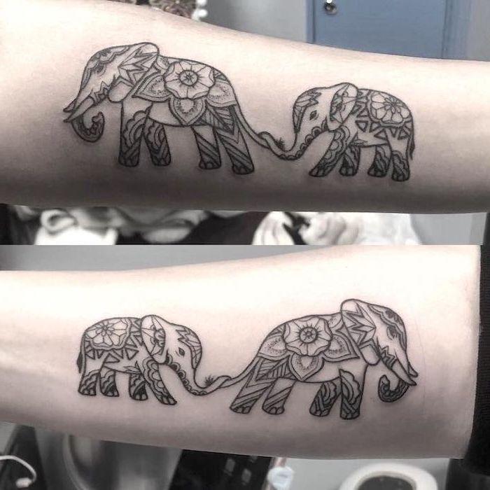 mother elephant, baby elephant, mandala tattoos, daughter tattoos, inside arm tattoos