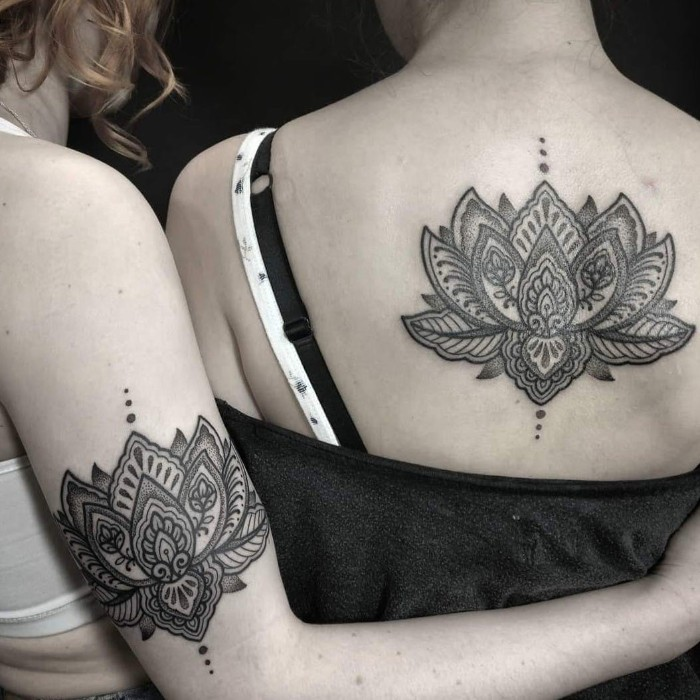 mandala lotus flower, back tattoo, arm tattoo, friendship tattoo ideas, black background