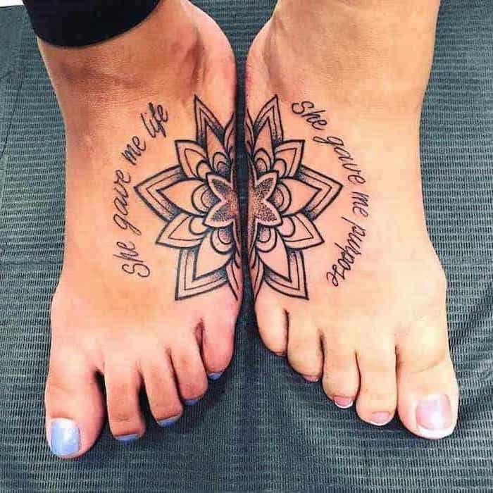 mandala tattoos, she gave me life, she gave me purpose, small mother daughter tattoos, leg tattoos