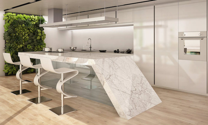 marble countertop, kitchen island, white bar stools, wooden floor, green wall, kitchen remodeling