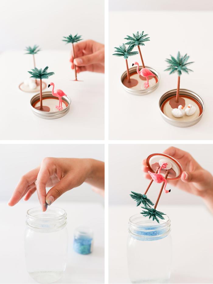 mason jar, two palm trees, pink flamingo, glued to the lid, diys for kids