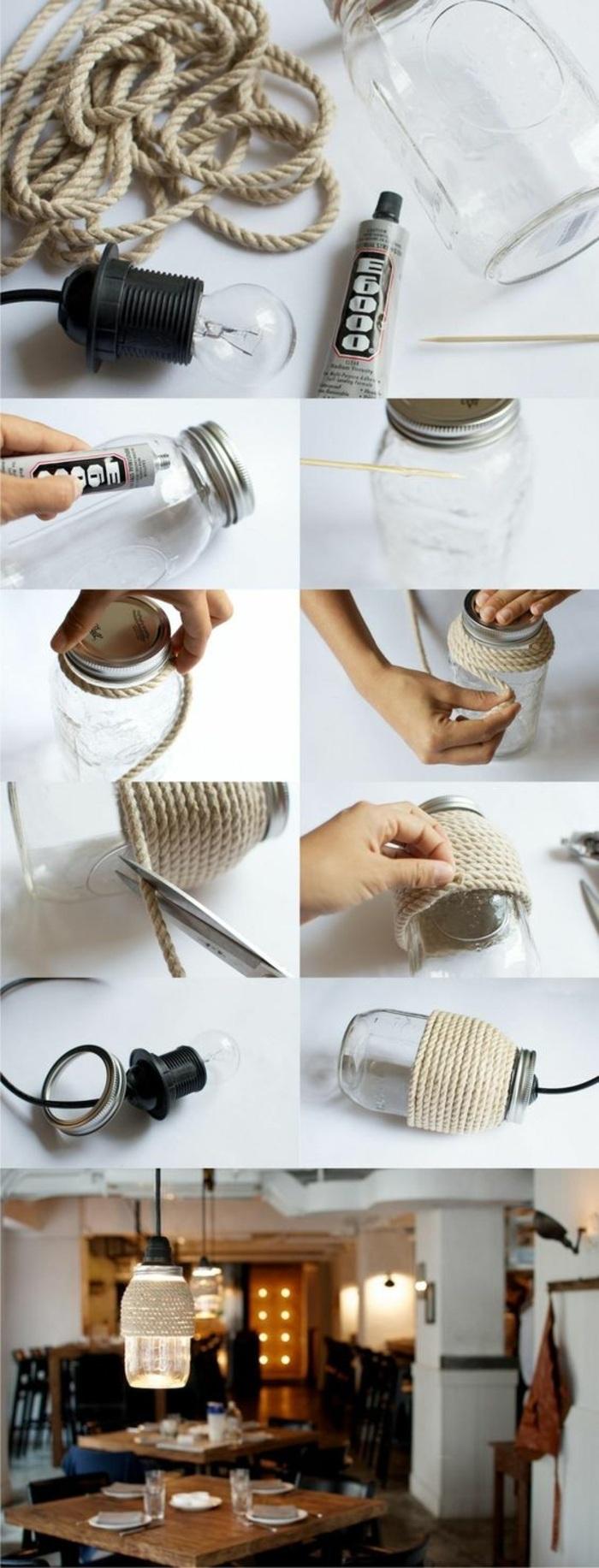 fun crafts for teens, mason jar, beige yarn, tied around it, electric bulb