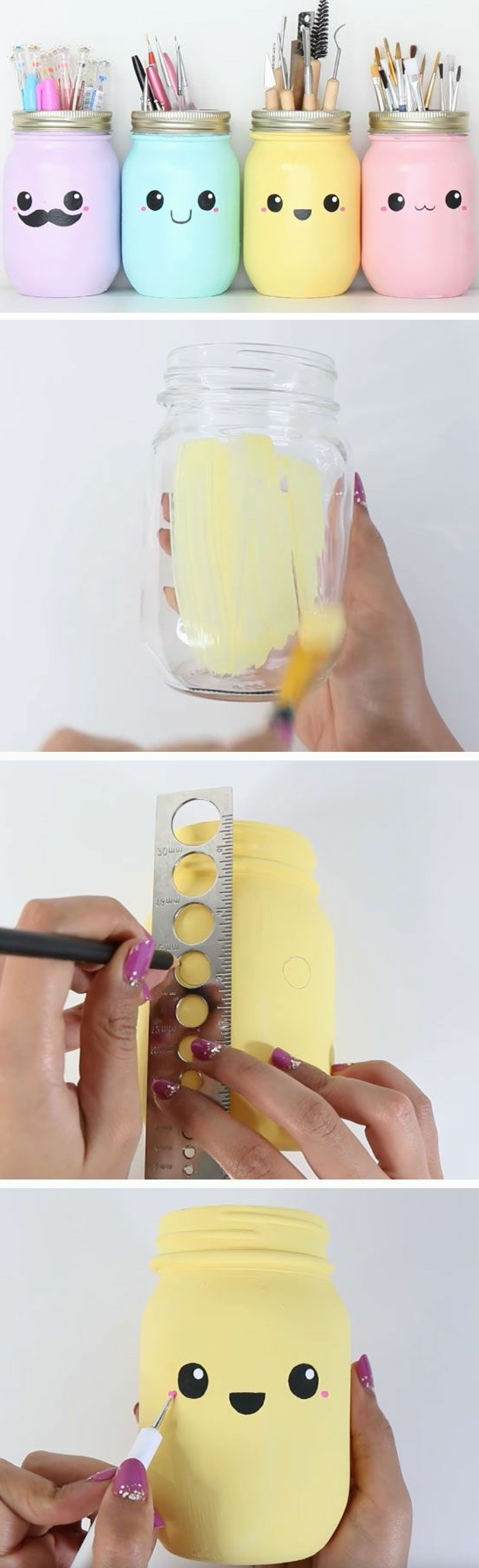 mason jars, turned into pencil holders, purple and blue, yellow and pink paint, fun crafts for teens