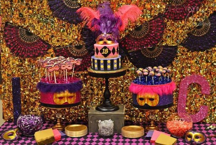 what should i do for my birthday, masquerade ball, gold red and purple theme, large cake, cake pops
