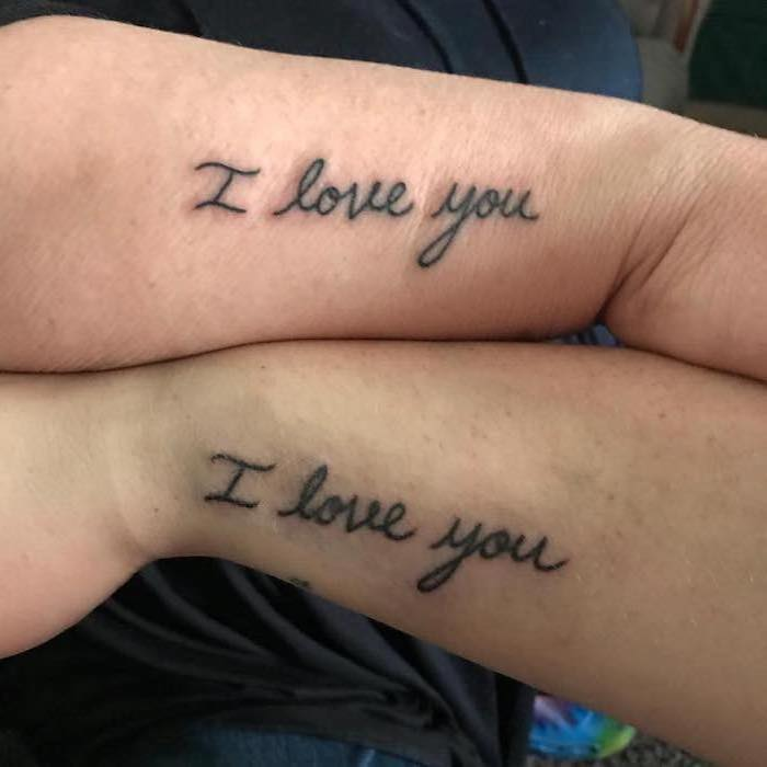 i love you, matching tattoos, small mother daughter tattoos, side arm tattoos