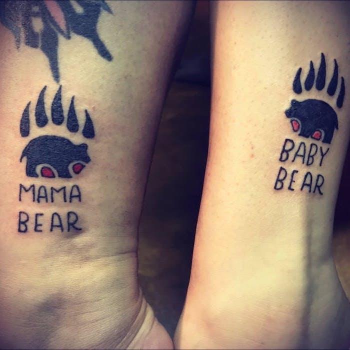 mama bear, baby bear, small mother daughter tattoos, leg tattoos